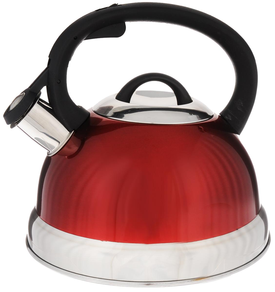 Чайник Mayer & Boch, со свистком, цвет: красный, черный, серебристый, 2,6 л. 2727Чайник Mayer & Boch выполнен из высококачественной нержавеющей стали, что делает его весьма гигиеничным и устойчивым к износу при длительном использовании. Носик чайника оснащен насадкой-свистком, что позволит вам контролировать процесс подогрева или кипячения воды. Фиксированная ручка, изготовленная из пластика, делает использование чайника очень удобным и безопасным. Поверхность чайника гладкая, что облегчает уход за ним. Эстетичный и функциональный чайник будет оригинально смотреться в любом интерьере. Подходит для всех типов плит, включая индукционные. Можно мыть в посудомоечной машине. Высота чайника (с учетом ручки и крышки): 20,5 см. Диаметр чайника (по верхнему краю): 10,5 см. Диаметр основания: 21 см. Диаметр индукционного диска: 14,5 см.
