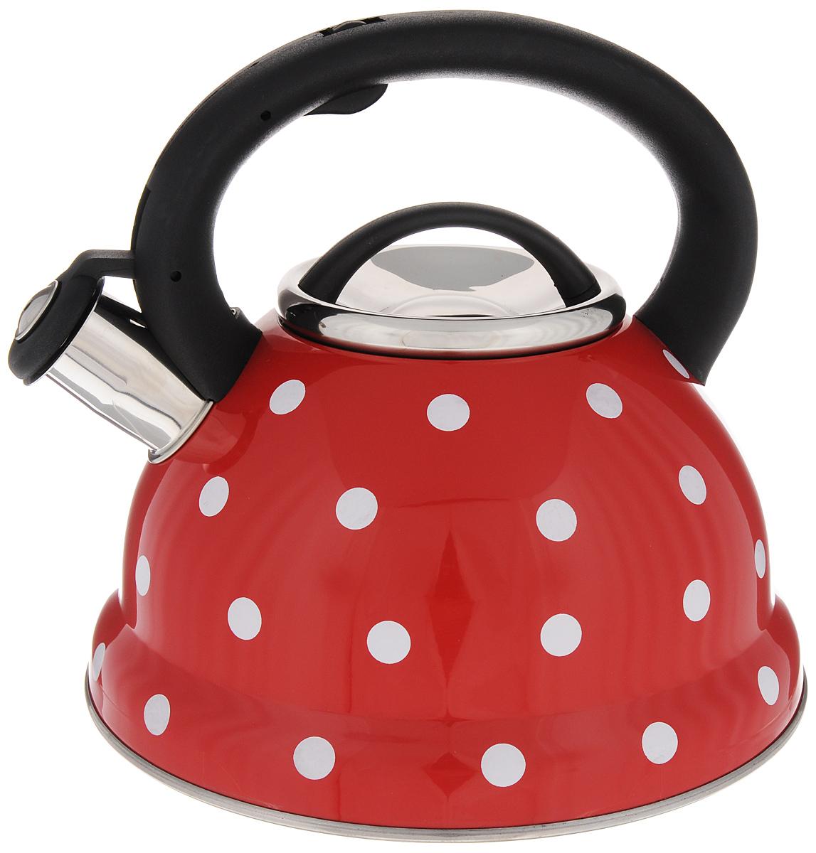 Чайник Mayer & Boch Горох, со свистком, 2,8 л. 2497324973Чайник со свистком Mayer & Boch изготовлен из высококачественной нержавеющей стали, что обеспечивает долговечность использования. Носик чайника оснащен откидным свистком, звуковой сигнал которого подскажет, когда закипит вода. Фиксированная ручка, изготовленная из пластика и цинка, снабжена клавишей для открывания носика, что делает использование чайника очень удобным и безопасным. Чайник Mayer & Boch - качественное исполнение и стильное решение для вашей кухни. Подходит для всех типов плит, включая индукционные. Можно мыть в посудомоечной машине. Высота чайника (с учетом ручки): 21,5 см. Высота чайника (без учета ручки и крышки): 12 см. Диаметр чайника (по верхнему краю): 10 см. Диаметр основания: 22 см.