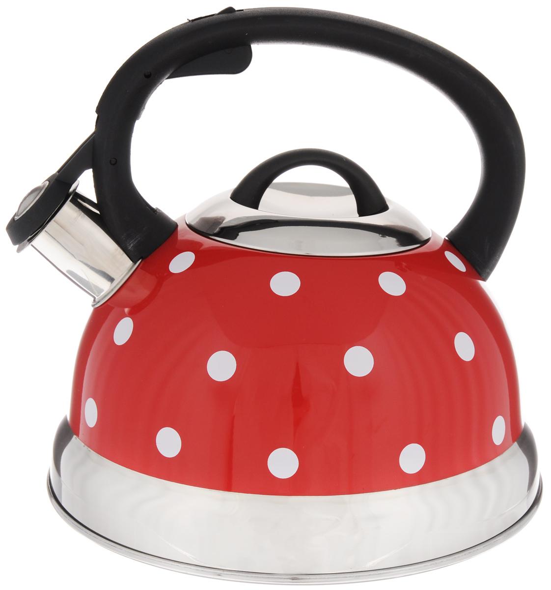 Чайник Mayer & Boch Горох, со свистком, цвет: красный, 2,6 л. 2566125661Чайник со свистком Mayer & Boch Горох изготовлен из высококачественной нержавеющей стали, что обеспечивает долговечность использования. Носик чайника оснащен откидным свистком, звуковой сигнал которого подскажет, когда закипит вода. Фиксированная ручка, изготовленная из пластика и цинка, снабжена клавишей для открывания носика, что делает использование чайника очень удобным и безопасным. Чайник Mayer & Boch - качественное исполнение и стильное решение для вашей кухни. Подходит для всех типов плит, включая индукционные. Можно мыть в посудомоечной машине. Высота чайника (с учетом ручки): 20,5 см. Диаметр чайника (по верхнему краю): 10 см. Диаметр основания: 21 см.