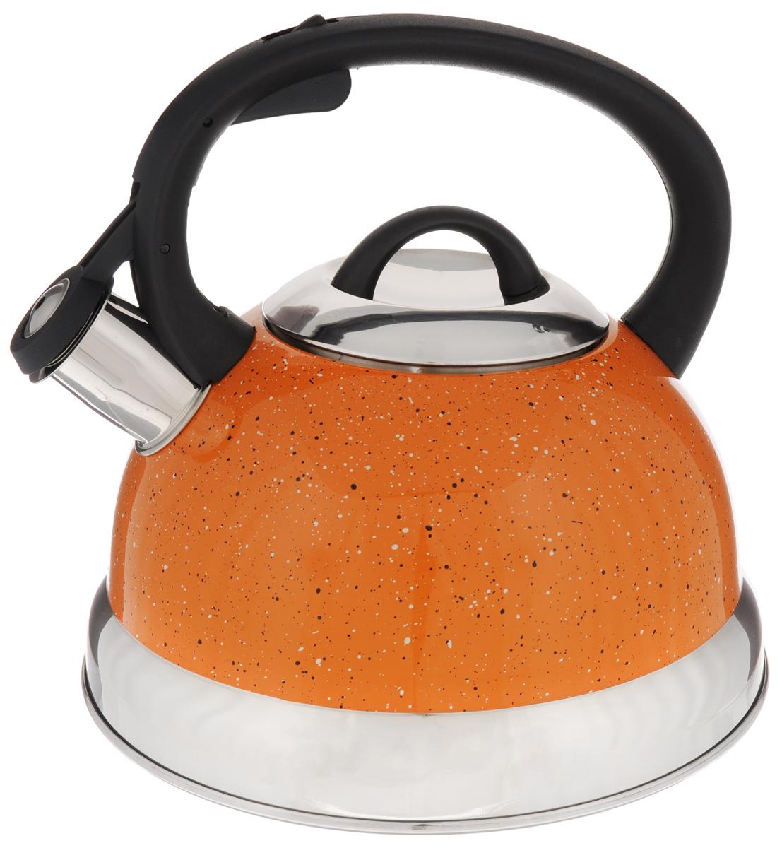 Чайник Mayer & Boch, со свистком, цвет: оранжевый, 2,6 л. 2566225662Чайник со свистком Mayer & Boch изготовлен из высококачественной нержавеющей стали, что обеспечивает долговечность использования. Носик чайника оснащен откидным свистком, звуковой сигнал которого подскажет, когда закипит вода. Фиксированная ручка, изготовленная из пластика, снабжена клавишей для открывания носика, что делает использование чайника очень удобным и безопасным. Чайник Mayer & Boch - качественное исполнение и стильное решение для вашей кухни. Подходит для всех типов плит, включая индукционные. Можно мыть в посудомоечной машине. Высота чайника (с учетом ручки): 20,5 см. Диаметр чайника (по верхнему краю): 10 см. Диаметр основания: 21 см.