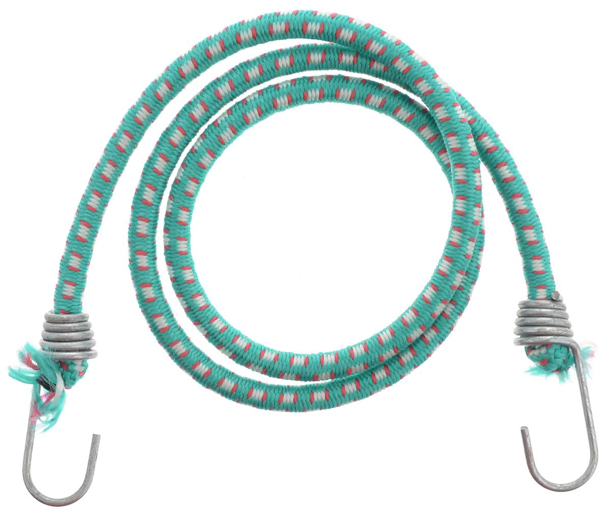 Резинка багажная МастерПроф, с крючками, цвет: зеленый, красный, белый, 1 х 110 смAC.020023_зеленый, красный, белыйБагажная резинка МастерПроф, выполненная из натурального каучука, оснащена специальными металлическими крючками, которые обеспечивают прочное крепление и не допускают смещения груза во время его перевозки. Изделие применяется для закрепления предметов к багажнику. Такая резинка позволит зафиксировать как небольшой груз, так и довольно габаритный. Температура использования: -15°C до +50°C. Безопасное удлинение: 60%. Диаметр резинки: 1 см. Длина резинки: 110 см.