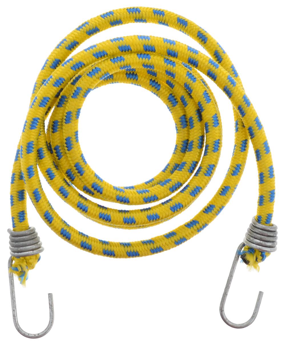 Резинка багажная МастерПроф, с крючками, цвет: желтый, синий, 1 х 190 смАС.020027_желтый, синийБагажная резинка МастерПроф, выполненная из натурального каучука, оснащена специальными металлическими крючками, которые обеспечивают прочное крепление и не допускают смещения груза во время его перевозки. Изделие применяется для закрепления предметов к багажнику. Такая резинка позволит зафиксировать как небольшой груз, так и довольно габаритный. Температура использования: -15°C до +50°C. Безопасное удлинение: 60%. Диаметр резинки: 1 см. Длина резинки: 190 см.