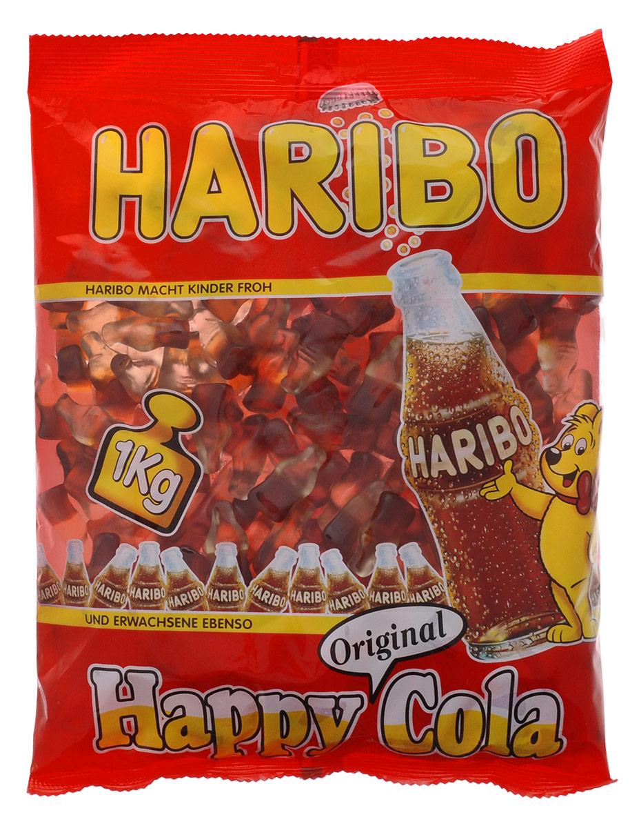 Haribo Happy Cola жевательный мармелад, 1 кг32367Haribo Happy Cola – оригинальный формат в категории жевательного мармелада с насыщенным моновкусом любимого всеми напитка! Его любят и взрослые, и дети! Happy Cola со вкусом колы – это настоящая классика в продуктовой линейке Haribo, ваш заряд энергии на целый день!