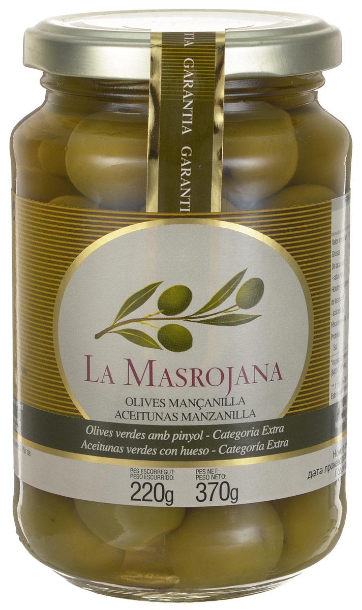 La Masrojana оливки зеленые сорта Манзанийя с косточкой, 220 г