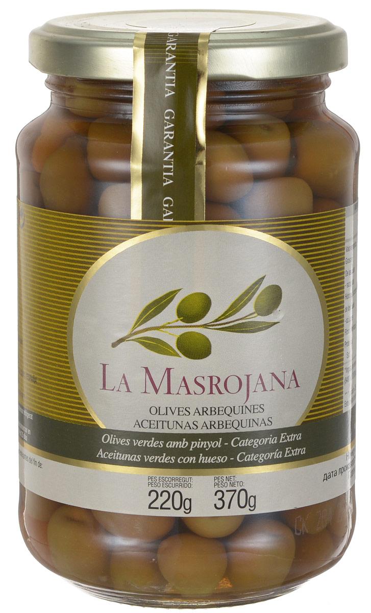 La Masrojana оливки зеленые сорта Арбекина с косточкой, 220 г 8420642000015
