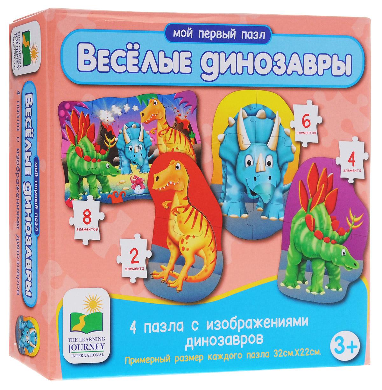 Learning Journey Пазл для малышей Веселые динозавры 4 в 1629277Удивительный пазл для малышей Learning Journey Веселые динозавры - отличный развивающий подарок вашему малышу! Теперь развиваться будет легко и весело! Собрав этот пазл, включающий в себя 20 элементов, вы получите 4 картинки с изображением забавных динозавров. Пазл научит ребенка усидчивости, умению доводить начатое дело до конца, поможет развить внимание, память, образное и логическое мышления, сенсорно-моторную координацию движения рук. Крупная и яркая форма собираемых элементов картинки способствуют развитию мелкой моторики, которая напрямую влияет на развитие речи и интеллектуальных способностей. В дальнейшем хорошая координация движений рук поможет ребенку легко овладеть письмом.