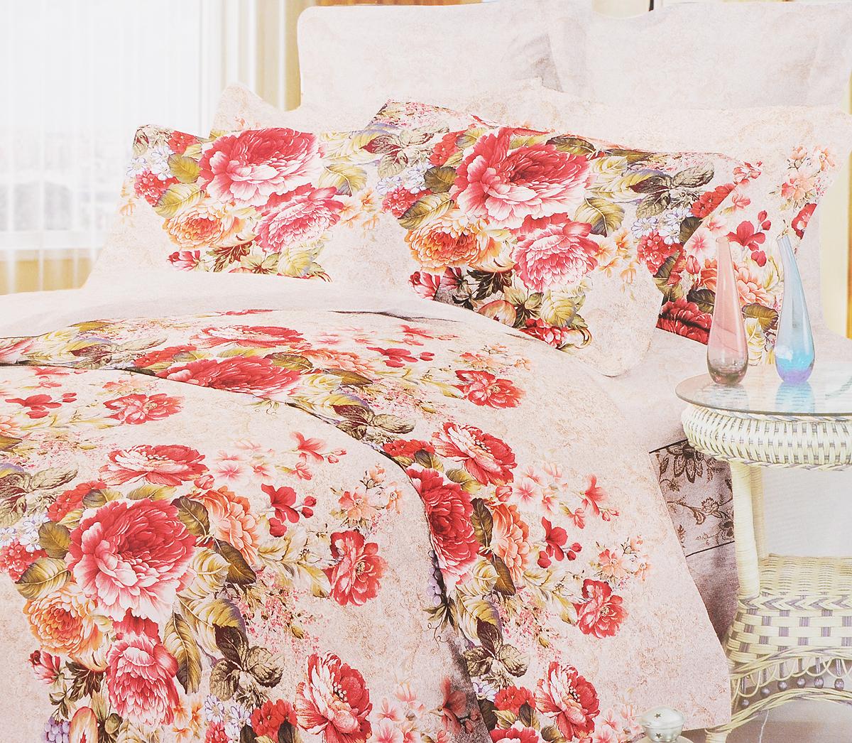 Комплект белья Primavera Букет роз, 1,5-спальный, наволочки 70x70, цвет: светло-коричневый, белый, красный86476Комплект постельного белья Primavera Букет роз является экологически безопасным для всей семьи, так как выполнен из высококачественного сатина (100% хлопка). Комплект состоит из пододеяльника на молнии, простыни и двух наволочек. Постельное белье оформлено ярким цветочным рисунком и имеет изысканный внешний вид. Сатин - производится из высших сортов хлопка, а своим блеском и легкостью напоминает шелк. Постельное белье из сатина превращает жаркие летние ночи в прохладные и освежающие, а холодные зимние - в теплые и согревающие. Приобретая комплект постельного белья Primavera Букет роз, вы можете быть уверенны в том, что покупка доставит вам и вашим близким удовольствие и подарит максимальный комфорт.
