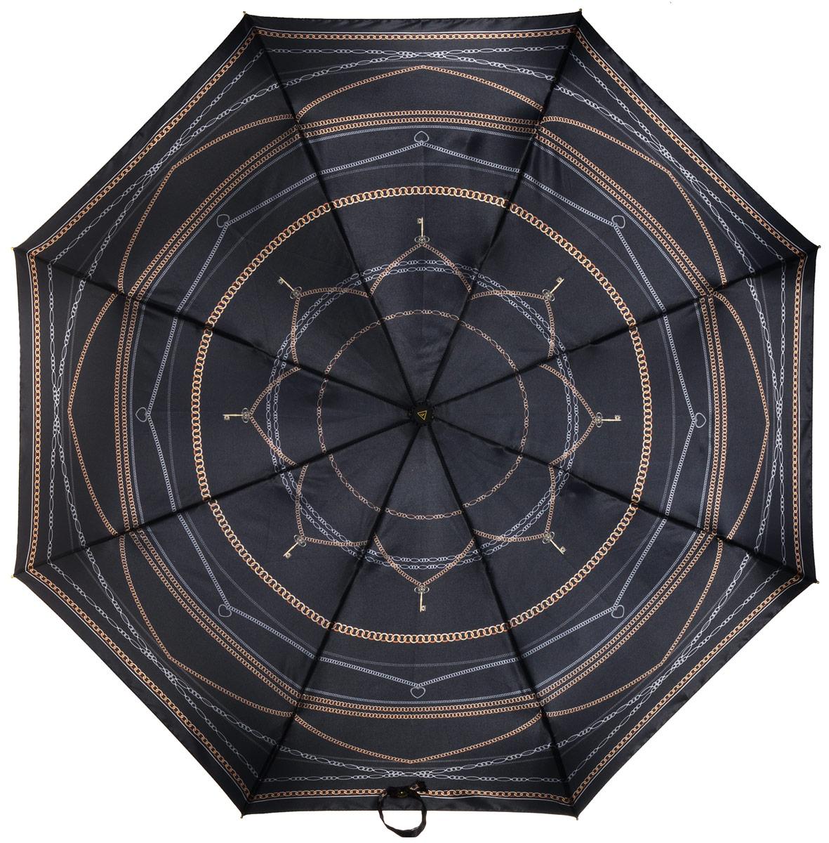 Зонт женский Fabretti, полный автомат, 3 сложения, цвет: черный. S-16103-9S-16103-9Зонт женский Fabretti, суперавтомат, 3 сложения, сатин