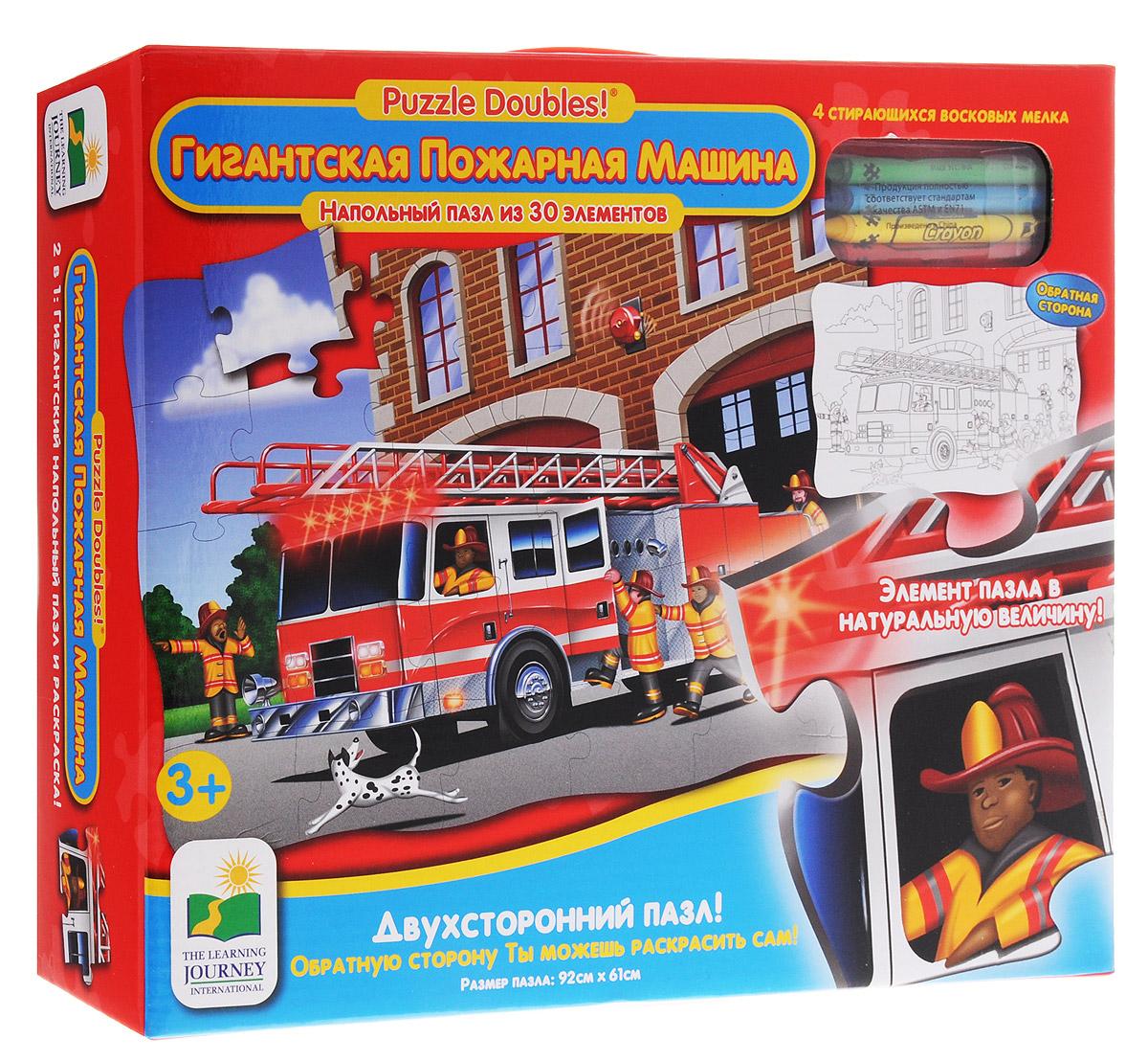 Learning Journey Пазл для малышей Гигантская пожарная машина699546Двухсторонний пазл для малышей Learning Journey Гигантская пожарная машина - замечательный развивающий подарок вашему малышу! Яркий, красочный пазл позволит малышу самостоятельно составить картинку. Собрав этот пазл, включающий в себя 30 элементов, вы получите картинку с изображением большой пожарной машины. Обратную сторону ребенок сможет раскрасить сам, для этого в набор входят 4 стирающихся восковых мелка. Пазл научит ребенка усидчивости, умению доводить начатое дело до конца, поможет развить внимание, память, образное и логическое мышления, сенсорно-моторную координацию движения рук. Крупная и яркая форма собираемых элементов картинки способствуют развитию мелкой моторики, которая напрямую влияет на развитие речи и интеллектуальных способностей. В дальнейшем хорошая координация движений рук поможет ребенку легко овладеть письмом.