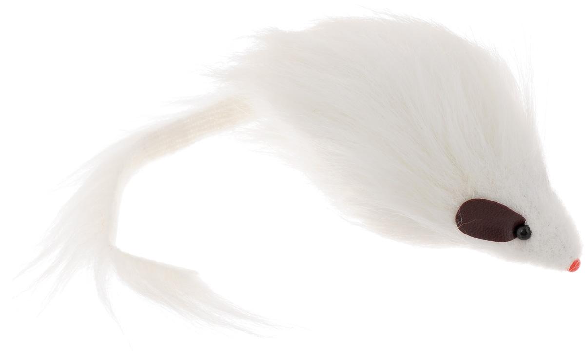 """Игрушка для кошек Каскад """"Мышь"""", с длинным мехом, цвет: белый, длина 12,5 см 27754635"""