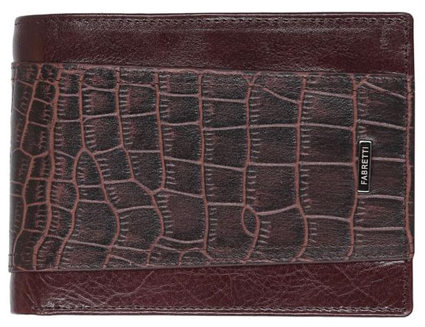 Кошелек мужской Fabretti 36011-brown36011-brownМужской кошелек FABRETTI из натуральной кожи с тиснением под кожу рептилии.. Внутри: два кармана для купюр,карман на молнии, карман для монет и 7 карманов для кредитных и пластиковых карт.
