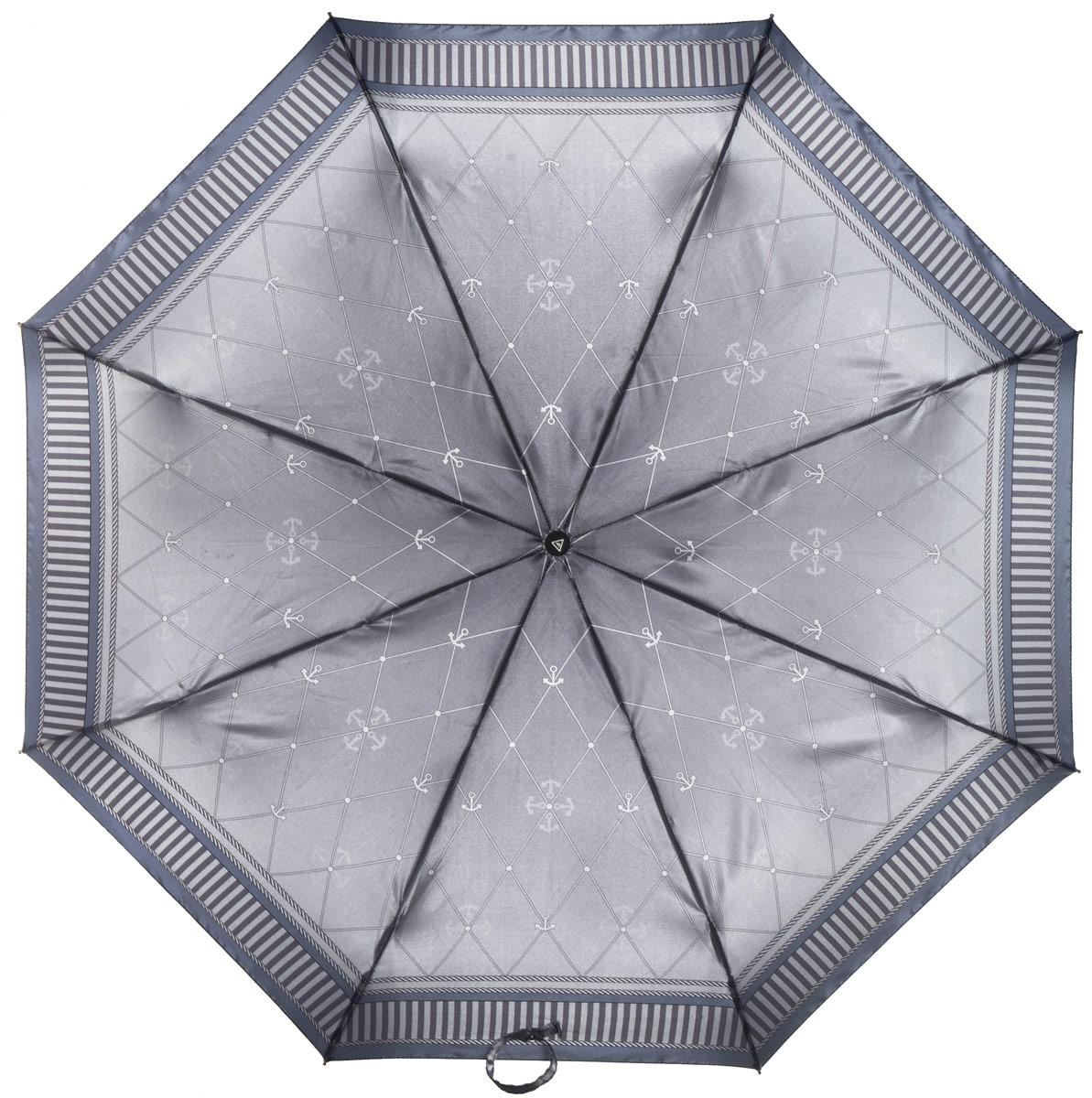 Зонт женский Fabretti, полный автомат, 3 сложения, цвет: серый. S-16100-3S-16100-3Зонт женский Fabretti, суперавтомат, 3 сложения, сатин