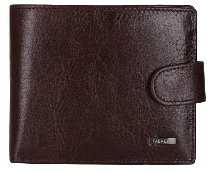 Кошелек мужской Fabretti 36002/1-brown36002/1-brownМужской кошелек FABRETTI коричневого цвета из натуральной кожи. Внутри: два отделения для купюр, монетница на кнопке и 4 кармана для пластиковых карт.Закрывается аксессуар клапаном на кнопке