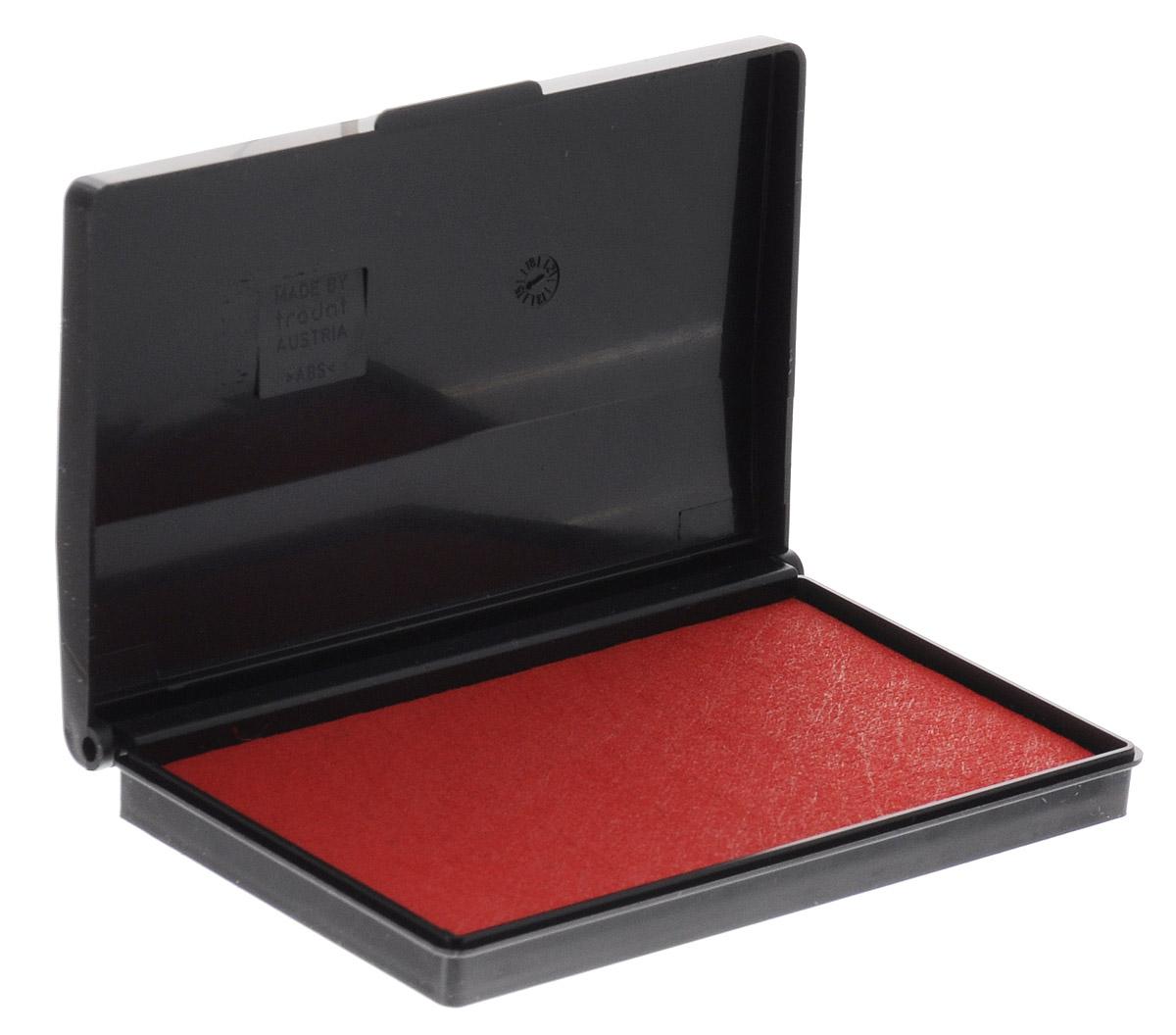 Trodat Штемпельная подушка цвет красный 9 х 5 см9051/ЧШтемпельная подушка Trodat станет незаменимым предметом в отделе кадров или в бухгалтерии любой компании. Настольная штемпельная подушка красного цвета в пластиковом корпусе имеет универсальный слой, который можно заправлять штемпельной краской как на водной, так и на спиртовой основе. Используется для окрашивания ручных штампов, изготовленных из резины и полимера. Не высыхает в открытом состоянии на протяжении длительного времени. Оттиск с краской на водной основе Trodat сохраняет первоначальный вид на протяжении десятилетий. Штемпельная подушка Trodat предназначена для ежедневного использования в офисе. Идеально подходит к самым разным требованиям в повседневной офисной жизни.