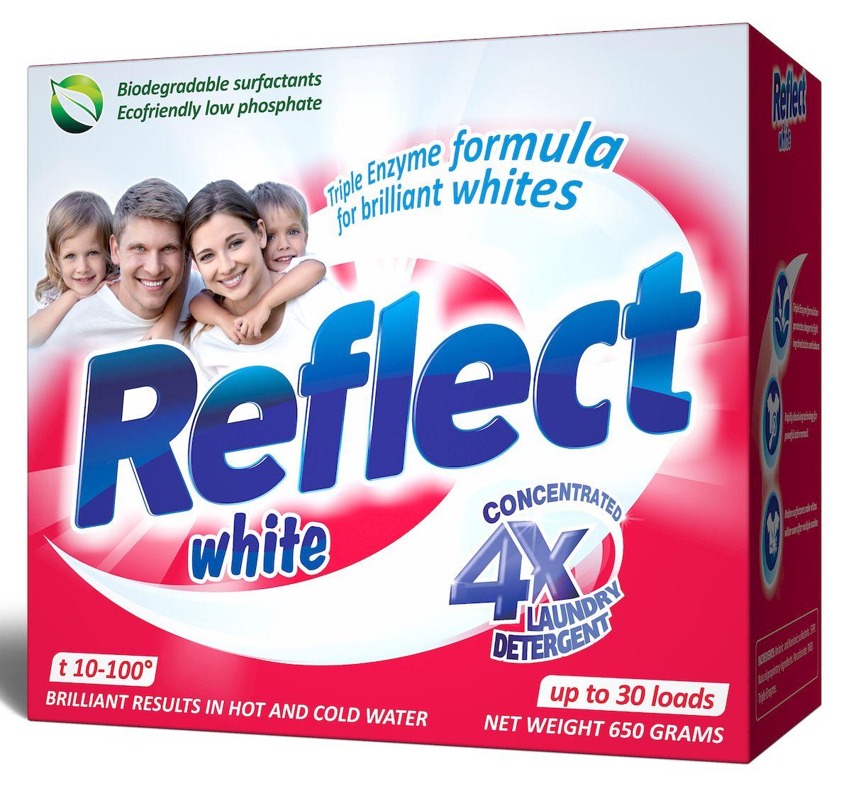 Стиральный порошок Reflect White, концентрированный, для белых и светлых тканей, 650 г15010Концентрированный стиральный порошок Reflect White предназначен для стирки белых и светлых тканей. Особенности порошка Reflect White: - придает белоснежность и яркость белым тканям от стирки к стирке, - отстирывает самые сильные загрязнения (воротнички, манжеты), - антибактериальный, уничтожает 99,9% известных бактерий, - обладает высокой моющей способностью в широком диапазоне температур (10°C-100°C), - предупреждает образование накипи на водонагревательном элементе, - удаляет пятна и загрязнения различного происхождения, не повреждая структуру ткани, - в состав входит энзим (антипиллинг), который предотвращает образование ворсистости на ткани, - подходит для всех типов ткани, включая ткани с мембранным покрытием, кроме шерсти и шелка - универсальный - для машинной и ручной стирки. Товар сертифицирован.