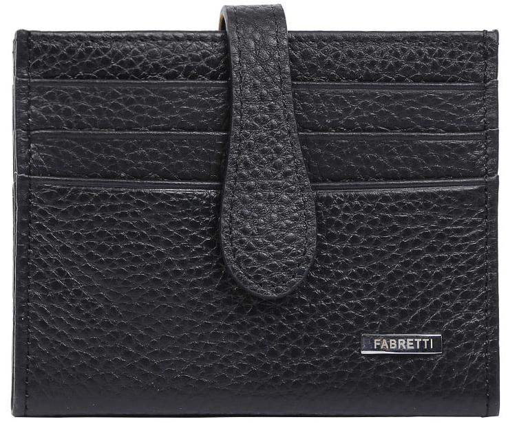 Визитница женская Fabretti 40025-black40025-blackЭлегантная визитница от итальянского бренда Fabretti выполнена из натуральной кожи, которая имеет невероятно мягкую и приятную фактуру. С внешней и внутренней стороны модель содержит по 6 отделений, в которых вы сможете расположить свои визитные и дисконтные карточки. Визитница закрывается на прочную застежку. Классический и насыщенный черный цвет в сочетании с фурнитурой выполненной в серебре превращают визитницу не просто в удобный, но и стильный аксессуар.