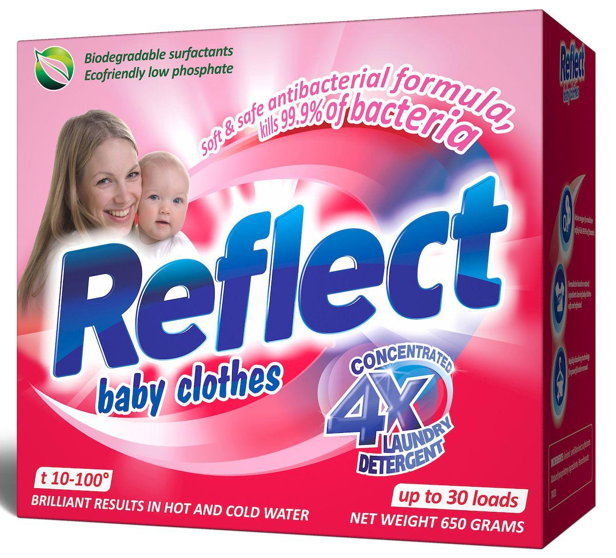Стиральный порошок Reflect Baby Clothes, концентрированный, 650 г15040Рефлект детский концентрированный стиральный порошок для детского белья с первых дней жизни ребенка от 0 месяцев. На основе натурального мыла легко справляется со специфическими загрязнениями от жизнедеятельности ребенка. Удаляет пятна (молоко, детское питание, каши, пюре, сок и т.д.); гипоаллергенный, для людей с чувствительной кожей; для всех типов ткани, включая шерсть; от 10-100С, для белого и цветного белья, обновляет цвет, сохраняет структуру ткани; ЭКОПРОДУКТ, полностью выполаскивается;