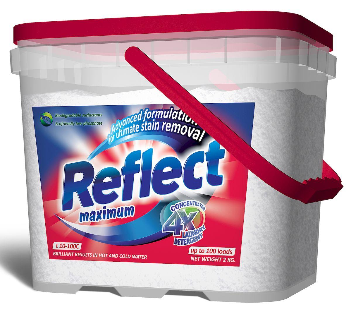 Стиральный порошок Reflect Maximum, для цветного и белого белья, 2 кг15050Reflect 2 кг – для стирки цветного и белого белья из хлопковых и смешанных волокон. Композитные энзимы TRIZYME (трайзайм) - глубоко проникают в ткань, удаляют грязь и неприятные запахи (включая пятна и запах пота), предотвращают серость и желтизну. Специальные добавки - помогают сохранять и поддерживать структуру ткани, предупреждая появление и образование катышек. Уникальная COLOUR CARE formula формула защиты цвета - защищает и поддерживает насыщенность цветовой гаммы изделия от стирки к стирке.Optical brightener (оптический отбеливатель) - отвечает за белизну белого белья и яркость цветного.