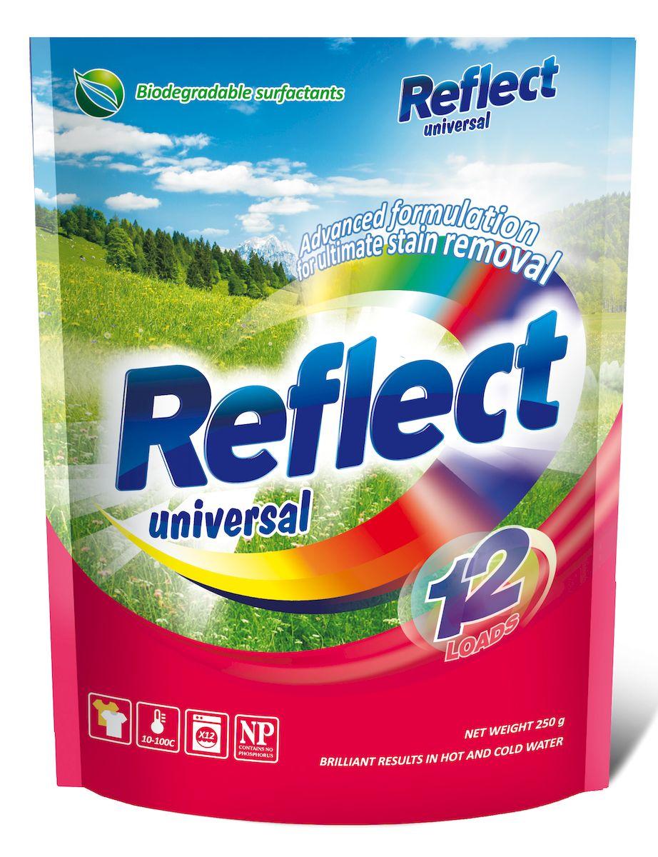 Стиральный порошок Reflect Universal, концентрированный, 250 г15060Разработанная с учетом новейших научных исследований высокоэффективная формула, содержащая энзимы и прочие специальные ингредиенты, справится с любыми пятнами. Благодаря высокой концентрации чистящих веществ, даже небольшой упаковки хватит надолго! Reflect universal бережно воздействует на большинство видов тканей, включая натуральные, синтетические и мембранные. Он сохраняет и освежает цвета, быстро растворяется без остатка и предотвращает появление накипи в стиральной машине.