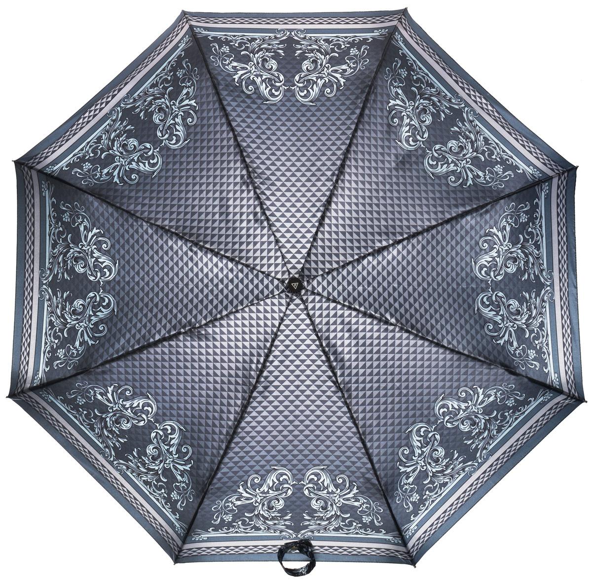 Зонт женский Fabretti, полный автомат, 3 сложения, цвет: серый. S-16101-3S-16101-3Зонт женский Fabretti, суперавтомат, 3 сложения, сатин
