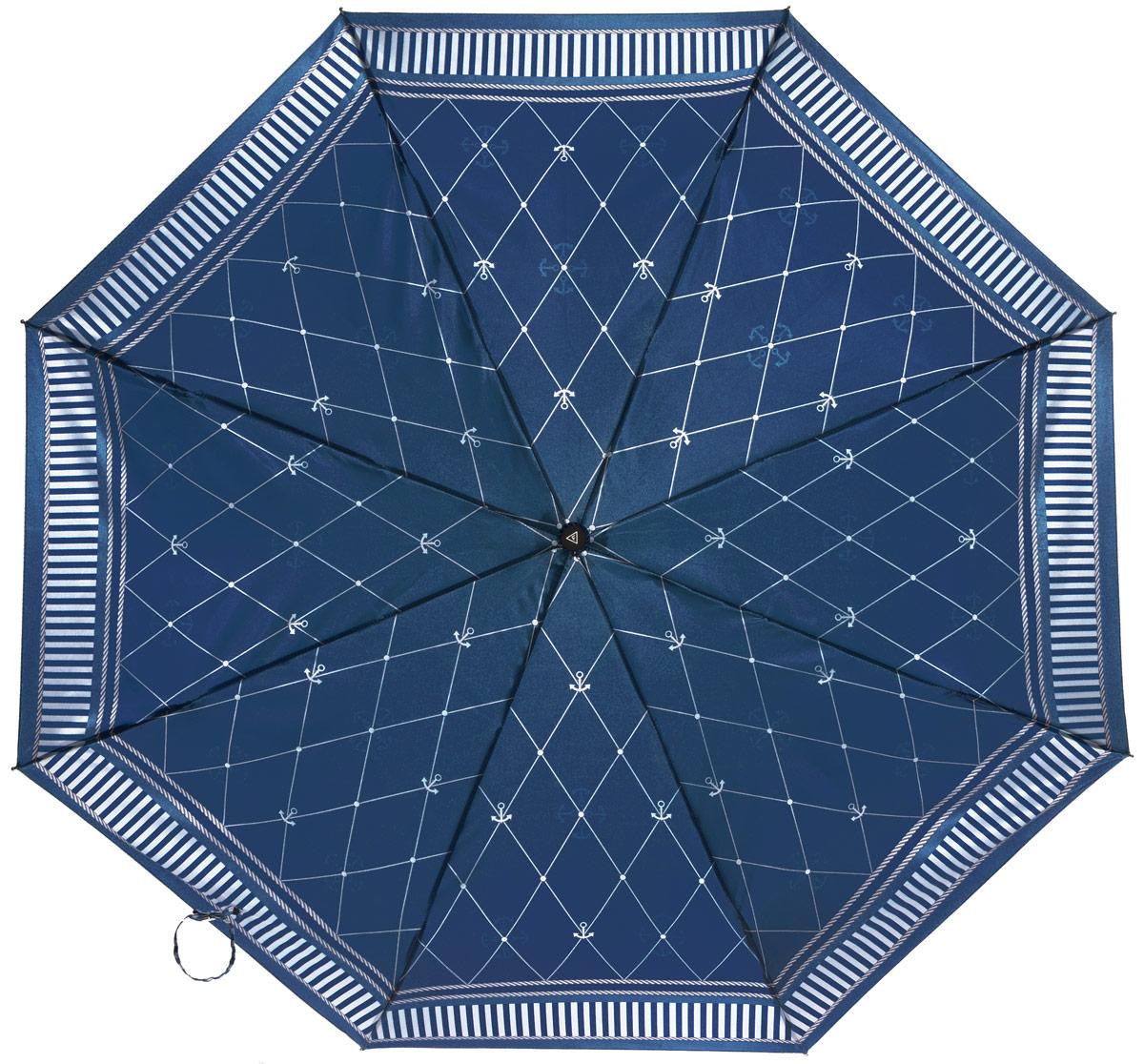 Зонт женский Fabretti, автомат, 3 сложения, цвет: синий. L-16104-22L-16104-22Зонт женский Fabretti, облегченный суперавтомат, 3 сложения