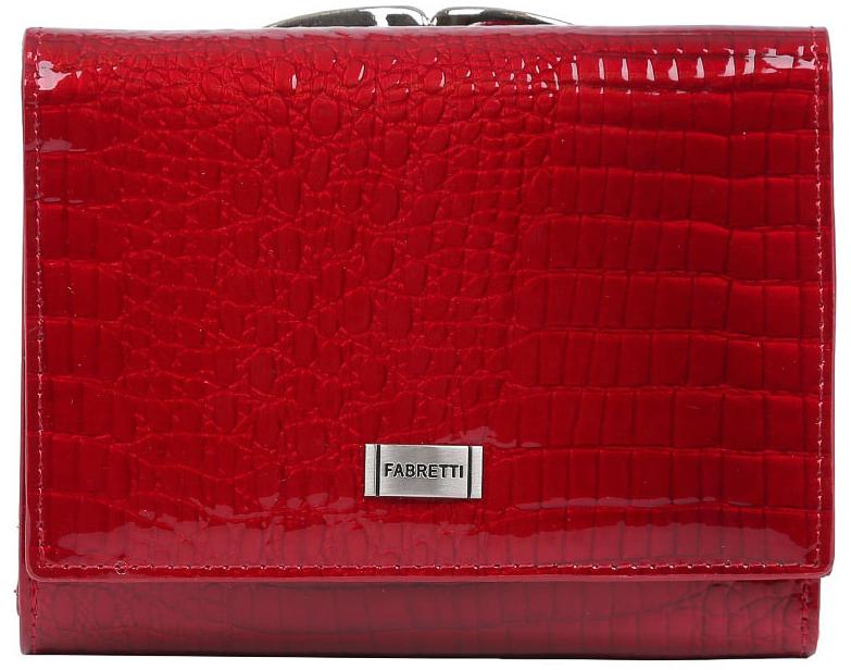 Кошелек женский Fabretti, цвет: красный. 47009-red cocco L47009-red cocco LКошелек Fabretti выполнен из натуральной лаковой кожи с тиснением под рептилию. Изделие оформлено металлической пластинкой с названием бренда. Внутри расположено вместительное отделение для купюр, три горизонтальных кармана, пять вертикальных карманов для визитных и дисконтных карт, одно из которых с прозрачным окошком. Отделение закрывается клапаном на кнопку. Также внутри находится отделение, закрывающееся на кнопку, которое состоит из пяти карманов, одно из которых с пластиковым окошком. Кошелек имеет отдельный карман для мелочи, закрывающийся на рамочный замок.