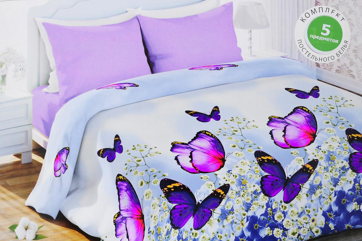 Комплект белья Любимый дом Изящный, семейный, наволочки 70х70, цвет: голубой, сиреневый333673Роскошный комплект постельного белья Любимый дом Изящный выполнен из ткани биокомфорт, произведенной из натурального 100% хлопка. Комплект состоит из двух пододеяльников, простыни и двух наволочек, оформленных цветочным принтом. Биокомфорт - это ткань полотняного переплетения, из экологически чистого и натурального 100% хлопка. Неоспоримым плюсом белья из такой ткани является мягкость и легкость, она прекрасно пропускает воздух, приятна на ощупь, не образует катышков на поверхности и за ней легко ухаживать. При соблюдении рекомендаций по уходу, это белье выдерживает много стирок, не линяет и не теряет свою первоначальную прочность. Уникальная ткань обеспечивает легкую глажку. Благодаря такому комплекту постельного белья вы создадите неповторимую и романтическую атмосферу в вашей спальне.