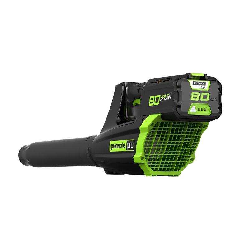 Воздуходув GreenWorks 80В (без аккумуляторной батареи и зарядного устройства)2400407Уникальная сверхмощная аккумуляторная система 80В 80V PRO Бесщеточный мотор DigiPro Минимальный уровень вибрации Работает с аккумуляторами Greenworks 80V PRO (арт. 2901207) и зарядным устройством G80C (арт. 2902507). Гарантия 2 года