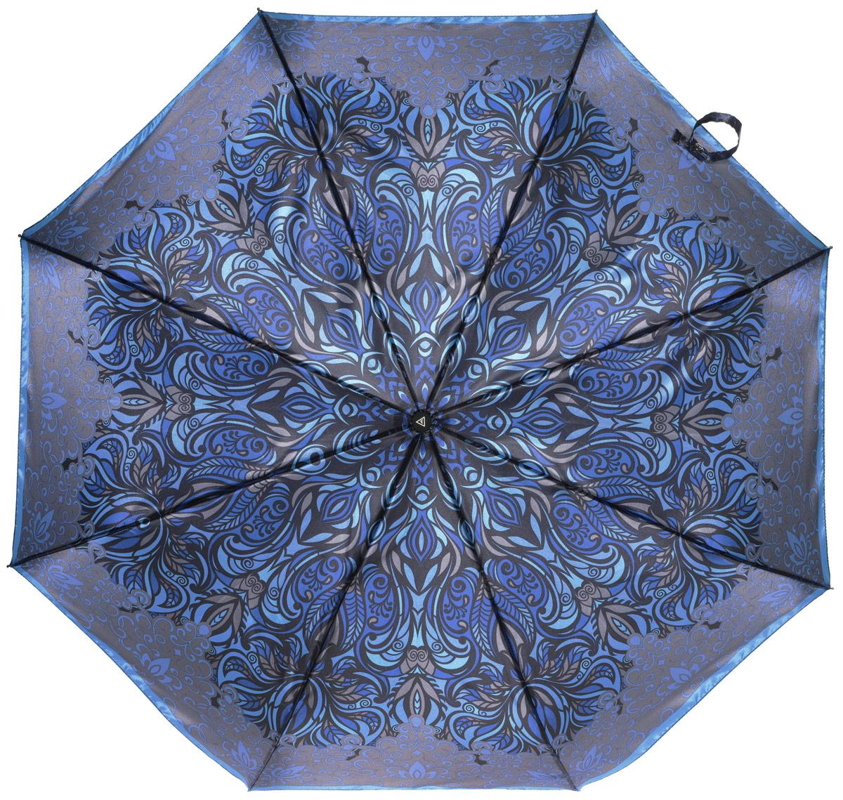 Зонт женский Fabretti, автомат, 3 сложения, цвет: черный. L-16106-10L-16106-10Зонт женский Fabretti, облегченный суперавтомат, 3 сложения