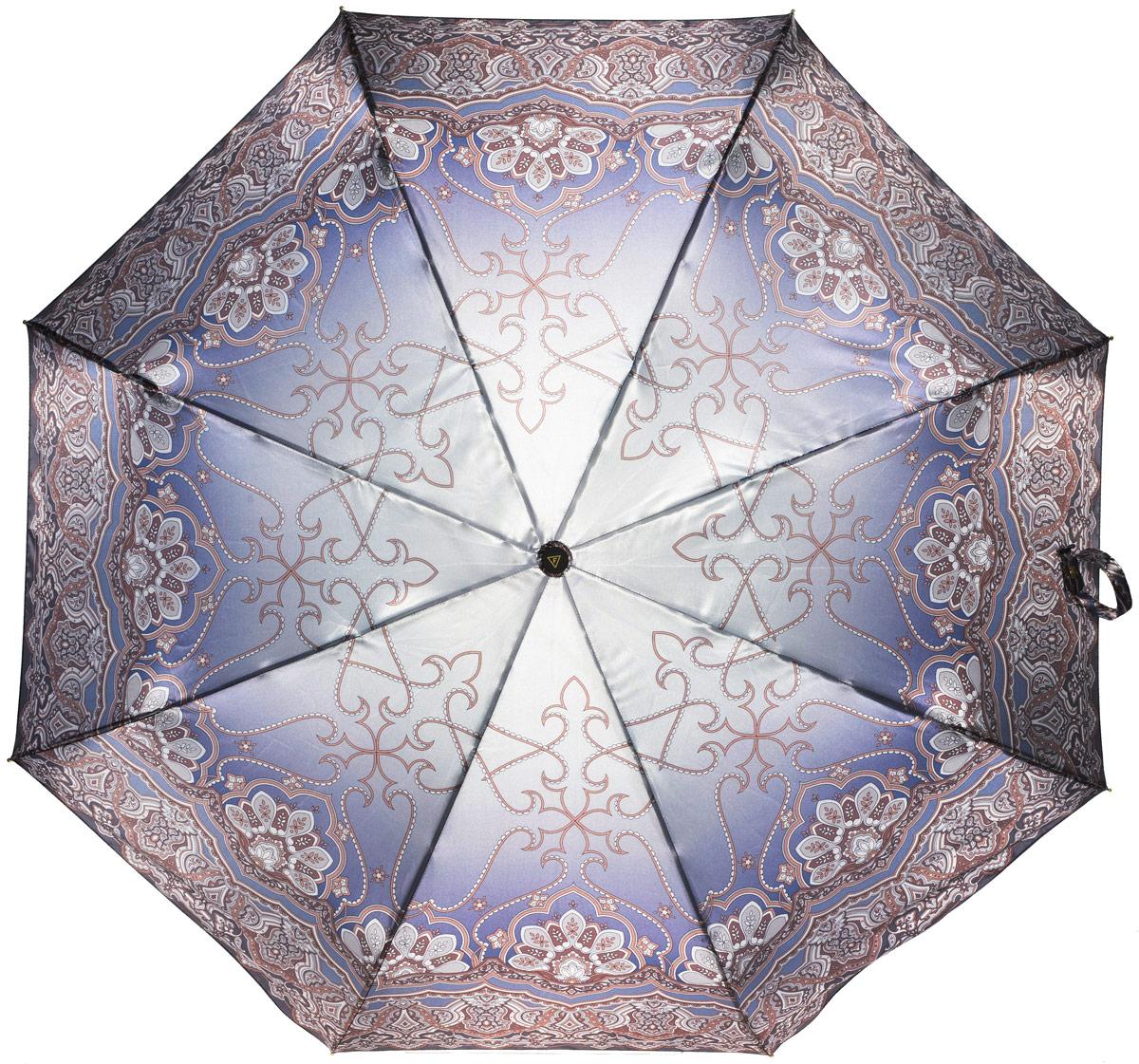 Зонт женский Fabretti, полный автомат, 3 сложения, цвет: мультиколор. S-16103-1S-16103-1Зонт женский Fabretti, суперавтомат, 3 сложения, сатин