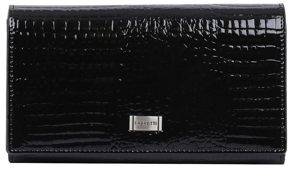 Кошелек женский Fabretti 72504-black cocco L72504-black cocco LИзящный кошелек от итальянского бренда Fabretti выполнен из натуральной лакированной кожи с невероятно модным тиснением под рептилию. Классический черный цвет и стильная фурнитура под серебро превращают кошелек в элегантный аксессуар, который придется по вкусу любительницам роскошной классики. Внутри модели находятся 4 вместительных отделения для купюр, одно из которых закрывается на рамочный замок. Также вы сможете разместить свои дисконтные и кредитные карты с помощью 8 карманов. Кошелек закрывается на прочную заклепку с логотипом бренда.