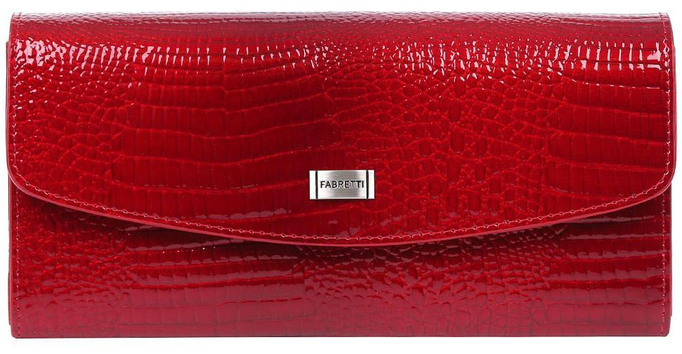 Кошелек женский Fabretti 72504-red cocco L72504-red cocco LИзящный кошелек от итальянского бренда Fabretti выполнен из натуральной лакированной кожи с невероятно модным тиснением под рептилию. Яркий и насыщенный красный цвет и стильная фурнитура под серебро превращают кошелек в элегантный аксессуар, который придется по вкусу любительницам роскошной классики. Внутри модели находятся 4 вместительных отделения для купюр, одно из которых закрывается на рамочный замок. Также вы сможете разместить свои дисконтные и кредитные карты с помощью 8 карманов. Кошелек закрывается на прочную заклепку с логотипом бренда.