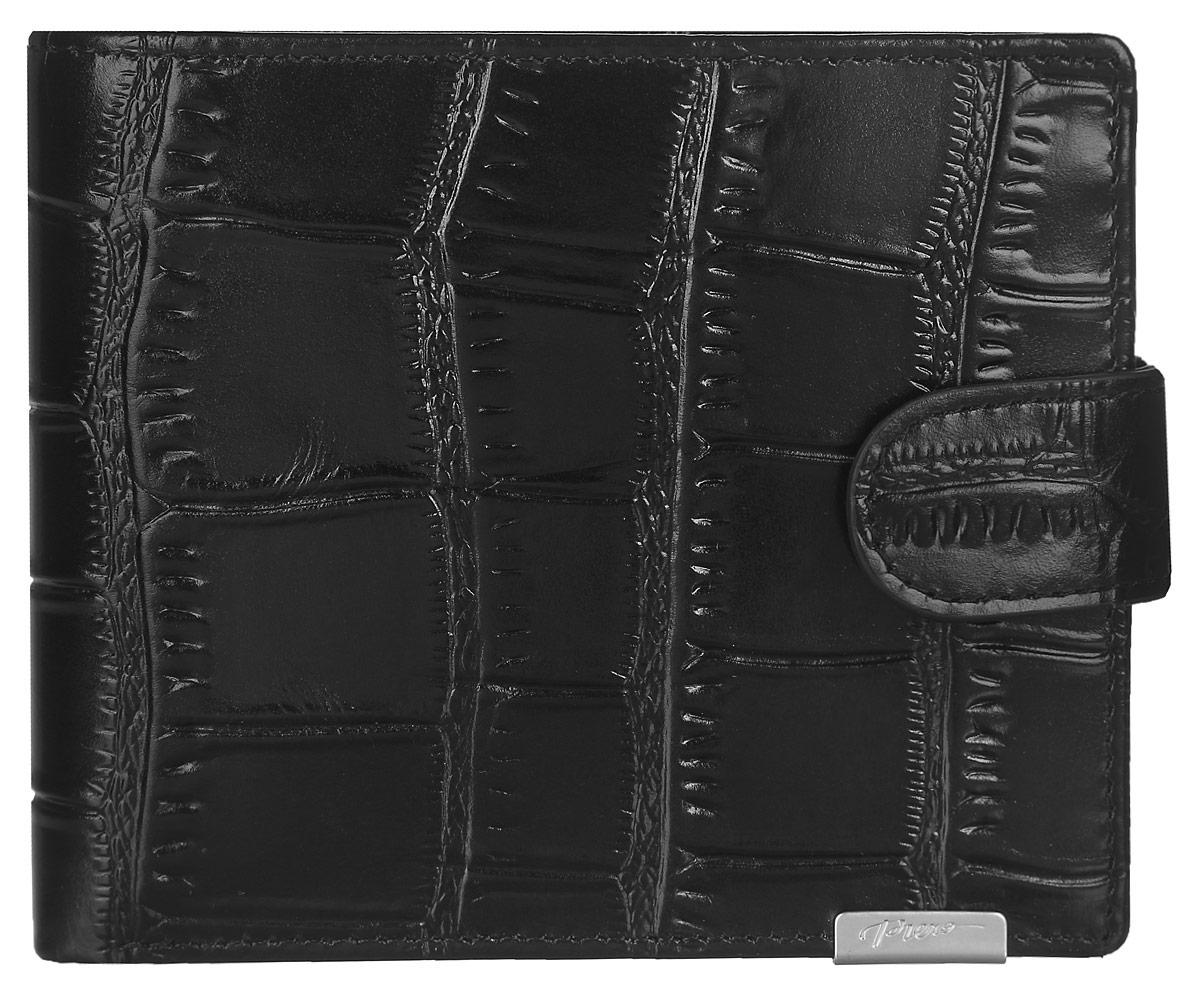 Кошелек мужской Piero, цвет: черный. МКГ1500320_1МКГ1500320_1Стильный мужской кошелек Piero выполнен из натуральной кожи с глянцевой поверхностью и декоративным тиснением под рептилию. Кошелек содержит два отделения для купюр, одно из которых закрывается на молнию, карман для мелочи с клапаном на кнопке, три кармашка для визиток и карт, два скрытых кармана и перекидной блок с двумя прозрачными карманами. Изделие закрывается хлястиком на кнопку. Кошелек упакован в фирменную коробку с логотипом бренда. Такой функциональный аксессуар станет замечательным подарком человеку, ценящему качественные и практичные вещи.