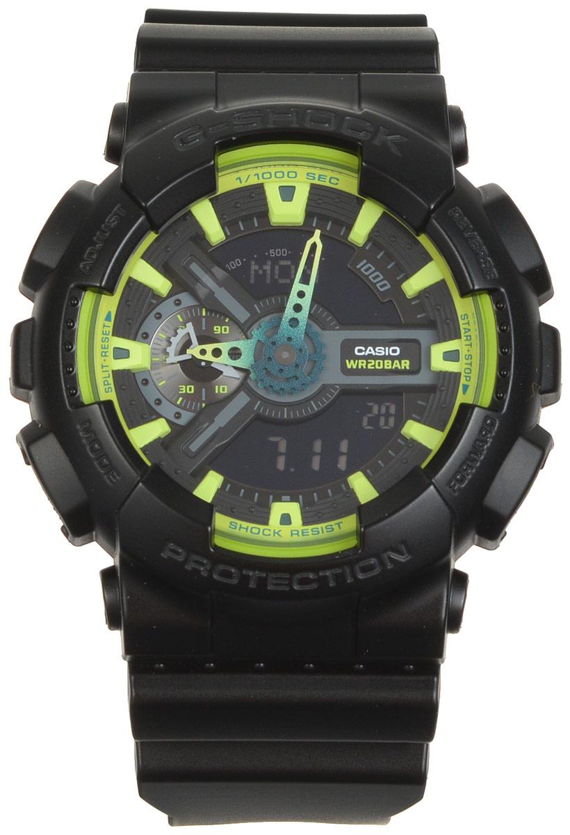 Часы наручные Casio G-Shock, цвет: черный, салатовый. GA-110LY-1AGA-110LY-1AМногофункциональные часы Casio G-Shock, выполнены из минерального стекла и полимерного материала. Часы оформлены символикой бренда. Часы имеют степень влагозащиты равную 20 BAR. Браслет часов оснащен застежкой-пряжкой, которая позволит с легкостью снимать и надевать изделие. Корпус часов оснащен светодиодной подсветкой. Дополнительные функции: таймер, будильник, секундомер, функция мирового времени, автоматический календарь, отображение скорости, отображение времени в формате 12/24. Часы поставляются в фирменной упаковке. Многофункциональные часы Casio G-Shock станут незаменимым аксессуаром для активного человека.