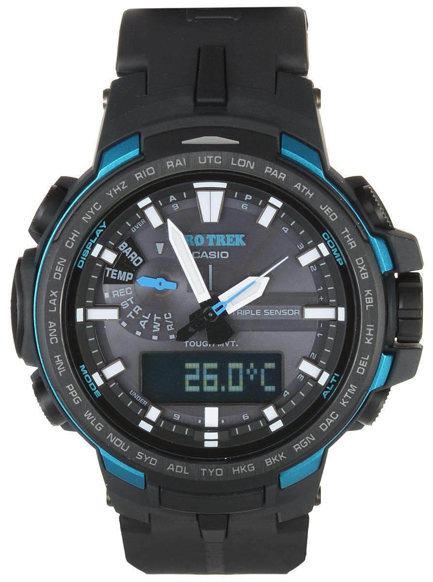 Часы наручные Casio Pro Trek, цвет: темно-серый, голубой. PRW-6100Y-1APRW-6100Y-1AМногофункциональные часы Casio Pro Trek, выполнены из минерального стекла и полимерного материала, оформлены символикой бренда. Часы имеют степень влагозащиты 10 BAR. Корпус часов оснащен светодиодной подсветкой, на циферблат и стрелки нанесен светящийся состав. В качестве элементов питания используются аккумуляторная батарейка и сверхчувствительная панель. Ремешок из полимерного материала оснащен застежкой-пряжкой, которая позволит с легкостью снимать и надевать изделие. Дополнительные функции часов: корректировка времени по радиосигналу, цифровой компас, альтиметр, барометр, термометр, таймер, будильник, секундомер, функция мирового времени, автоматический календарь. Часы поставляются в фирменной упаковке. Многофункциональные часы Casio Pro Trek станут незаменимым аксессуаром для активного человека.