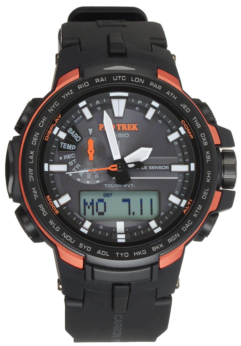 Часы наручные Casio Pro Trek, цвет: черный, оранжевый. PRW-6100Y-1EPRW-6100Y-1EМногофункциональные часы Casio Pro Trek, выполнены из минерального стекла и полимерного материала, оформлены символикой бренда. Часы имеют степень влагозащиты 10 BAR. Корпус часов оснащен светодиодной подсветкой, на циферблат и стрелки нанесен светящийся состав. В качестве элементов питания используются аккумуляторная батарейка и сверхчувствительная панель. Ремешок из полимерного материала оснащен застежкой-пряжкой, которая позволит с легкостью снимать и надевать изделие. Дополнительные функции часов: корректировка времени по радиосигналу, цифровой компас, альтиметр, барометр, термометр, таймер, будильник, секундомер, функция мирового времени, автоматический календарь. Часы поставляются в фирменной упаковке. Многофункциональные часы Casio Pro Trek станут незаменимым аксессуаром для активного человека.