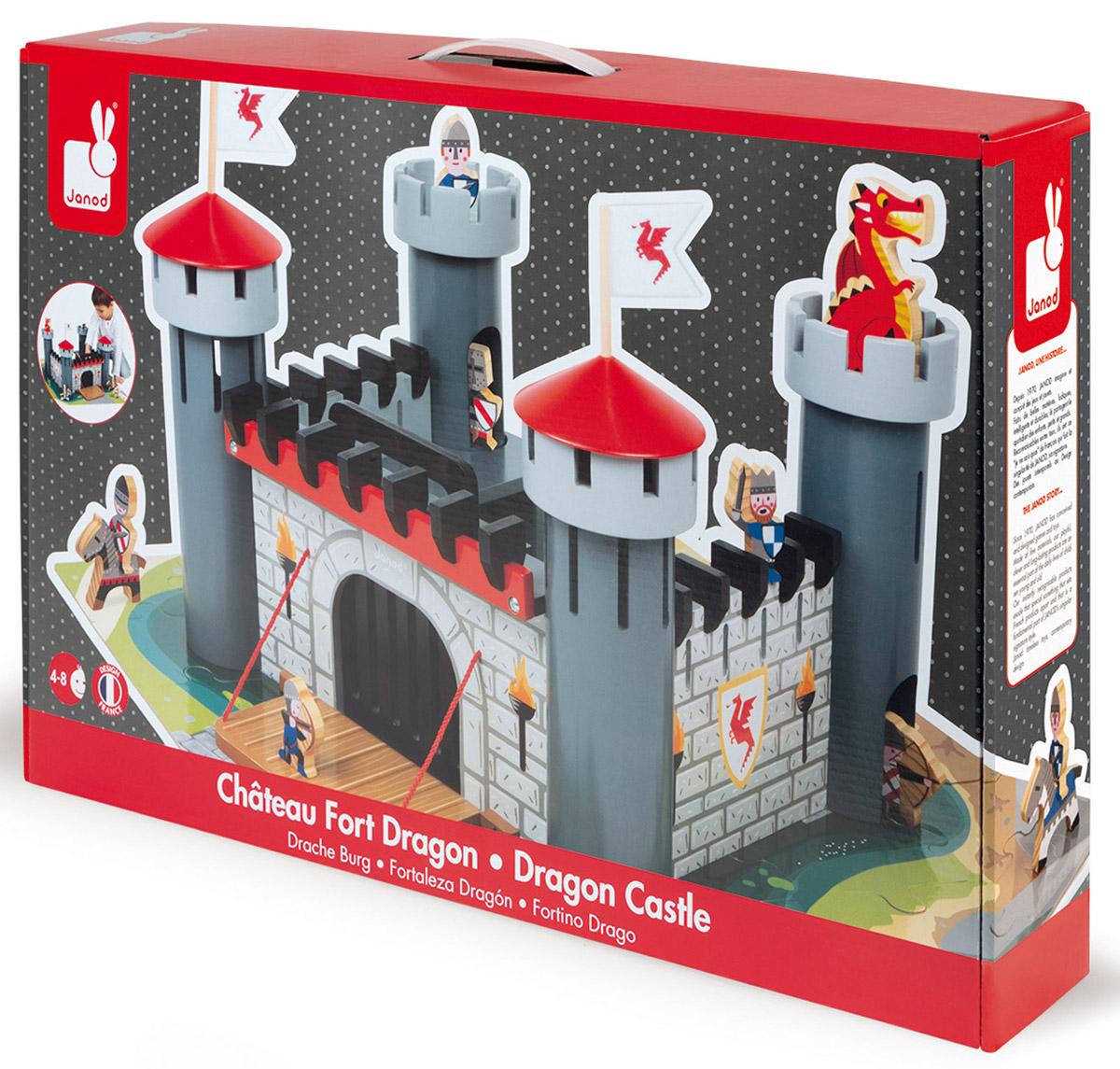Janod Конструктор Рыцарский замокJ06484Конструктор Janod Рыцарский замок выполнен из натуральной древесины. Элементы имеют оригинальный дизайн и веселую расцветку. Маленьким героям не придется скучать! Замок с башнями и подъемным мостом, 6 фигурок-рыцарей, 2 коня и дракон окрашены красками на водной основе. Пазл-основание с нанесенным изображением местности выполнен из ламинированного картона и состоит из 30 элементов.