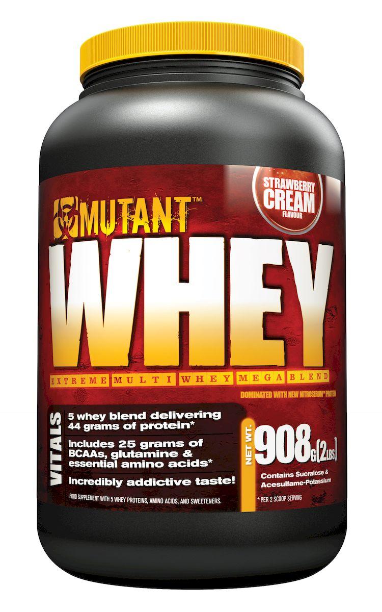 Протеин Mutant Whey, клубничный, 900 г3557688Беспрецедентно быстрая протеиновая смесь, Mutant Whey это уникальный 5-ти уровневый сывороточный протеин который запускает механизм мышечного роста и задержки азота. Да, сывороточный протеин помогает вам наращивать мышцы, но Mutant Whey поможет вам вырасти БОЛЬШЕ и БЫСТРЕЕ! Mutant Whey был разработан благодаря специальным исследованиям проводимым более 28 месяцев. Это первый в мире протеин, каждый компонент которого специально отобран за его уникальность. Пять уровней протеина усваиваются на отдельных участках пищеварительного тракта. Что это дает? 100% усвоение протеина! Каждый источник протеина усваивается на 100%, он богат BCAA и глютамином, что позволяет вам быстро восстанавливаться. Состав: концентрат сывороточного протеина, изолят сывороточного протеина, инулин, ксантановая камедь, пептиды глутамина, натуральные и искусственные ароматизаторы, цитрат калия, ацесульфам калия, сукралоза, соевый лецитин.