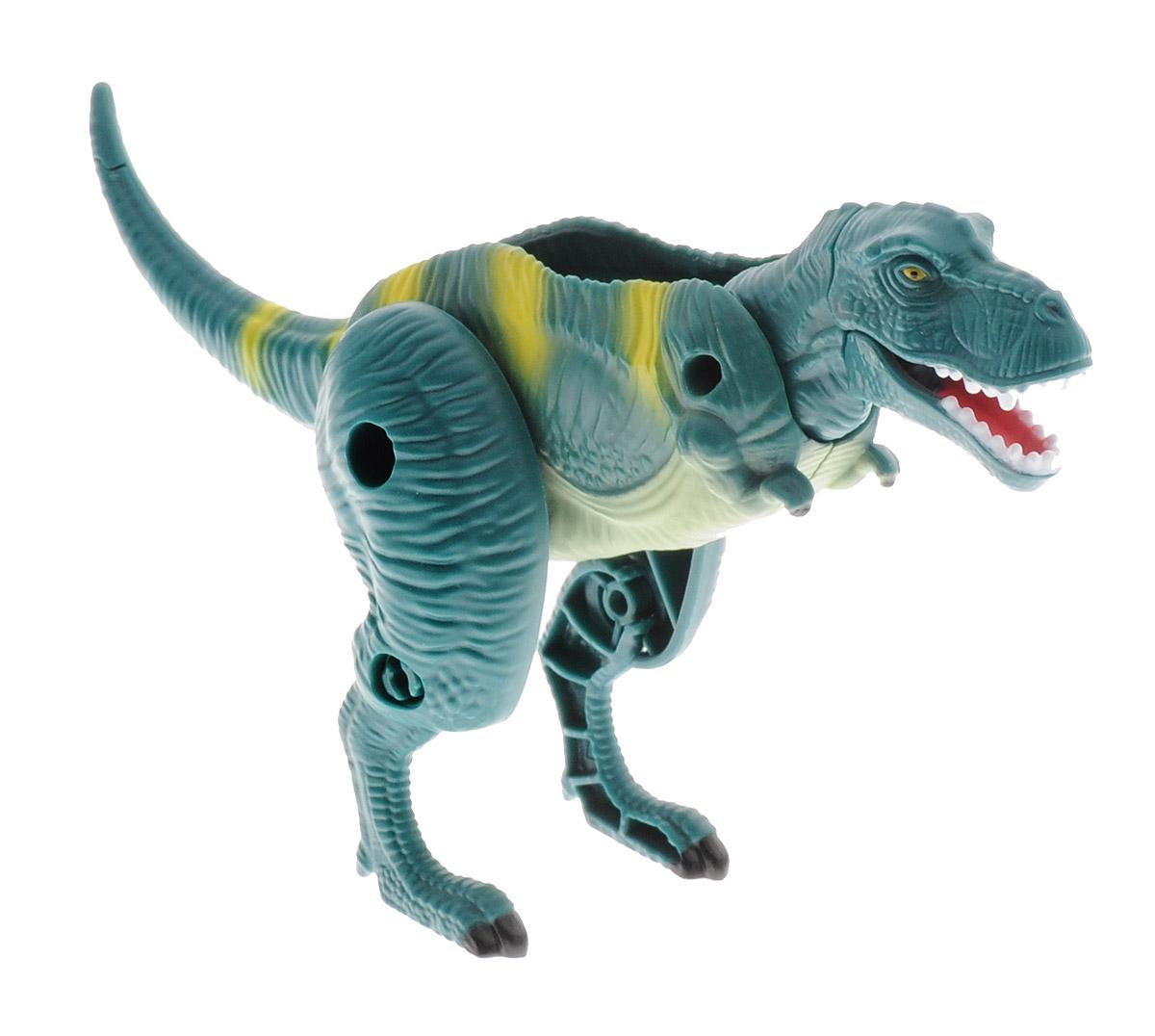 Hatchn Heroes Яйцо-трансформер Тираннозавр84550Тираннозавр - один из самых узнаваемых ящеров, неоднократно появлявшийся в фильмах и ставший воплощением грозных древних хищников. Яйцо- трансформер Hatchn Heroes Тираннозавр напоминает настоящего динозавра и станет отличным подарком для всех поклонников доисторического мира! У него подвижные лапы, челюсть и шея. Фигурка окрашена в зеленые тона, качественно прорисована и детализирована. Динозавр легко трансформируется, раскладываясь в фигурку и складываясь в овальное яйцо. С помощью игрушки ребенок сможет познакомиться с миром динозавров и придумать увлекательные сюжеты для игры. Игрушка изготовлена из качественного и безопасного материала.