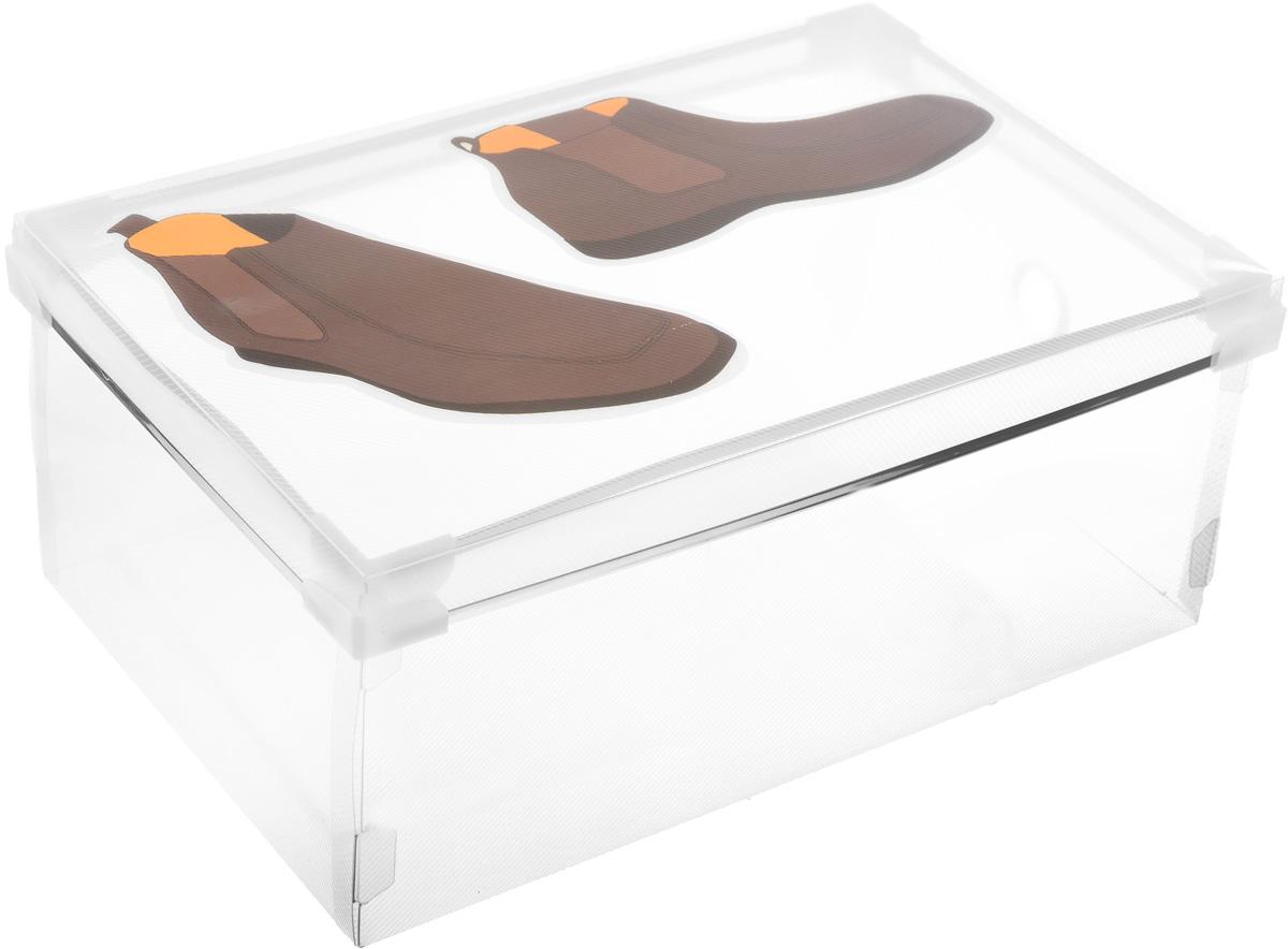 Короб для хранения обуви Miolla, 34 х 22 х 12 смPB-003Короб Miolla изготовлен из полипропилена с изображением пары ботинок. Предназначен для хранения обуви. Снабжен крышкой, которая поможет защитить содержимое от моли, пыли и влаги. Стильный и практичный короб станет хорошим приобретением и пригодится в каждом доме.