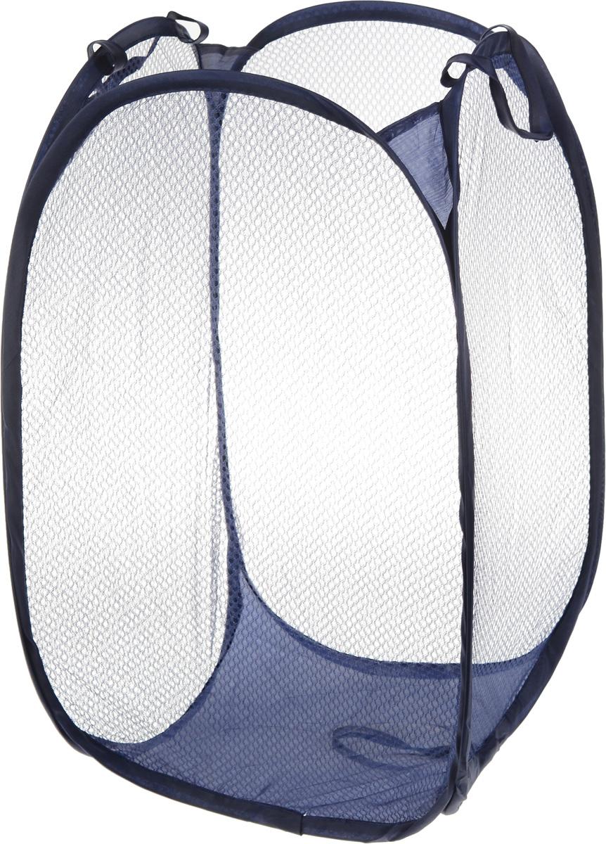 Корзина для белья Axentia, складная, цвет: синий, 36 х 36 х 58 см116723_синийКорзина для белья Axentia изготовлена из 100% полиэстера и предназначена для сбора и хранения вещей перед стиркой. Компактная и легкая складная корзина не занимает много места, аккуратно хранит белье, украшает ванную комнату. Сверху имеются ручки для переноски корзины. Корзина для белья Axentia станет оригинальным украшением интерьера ванной комнаты.