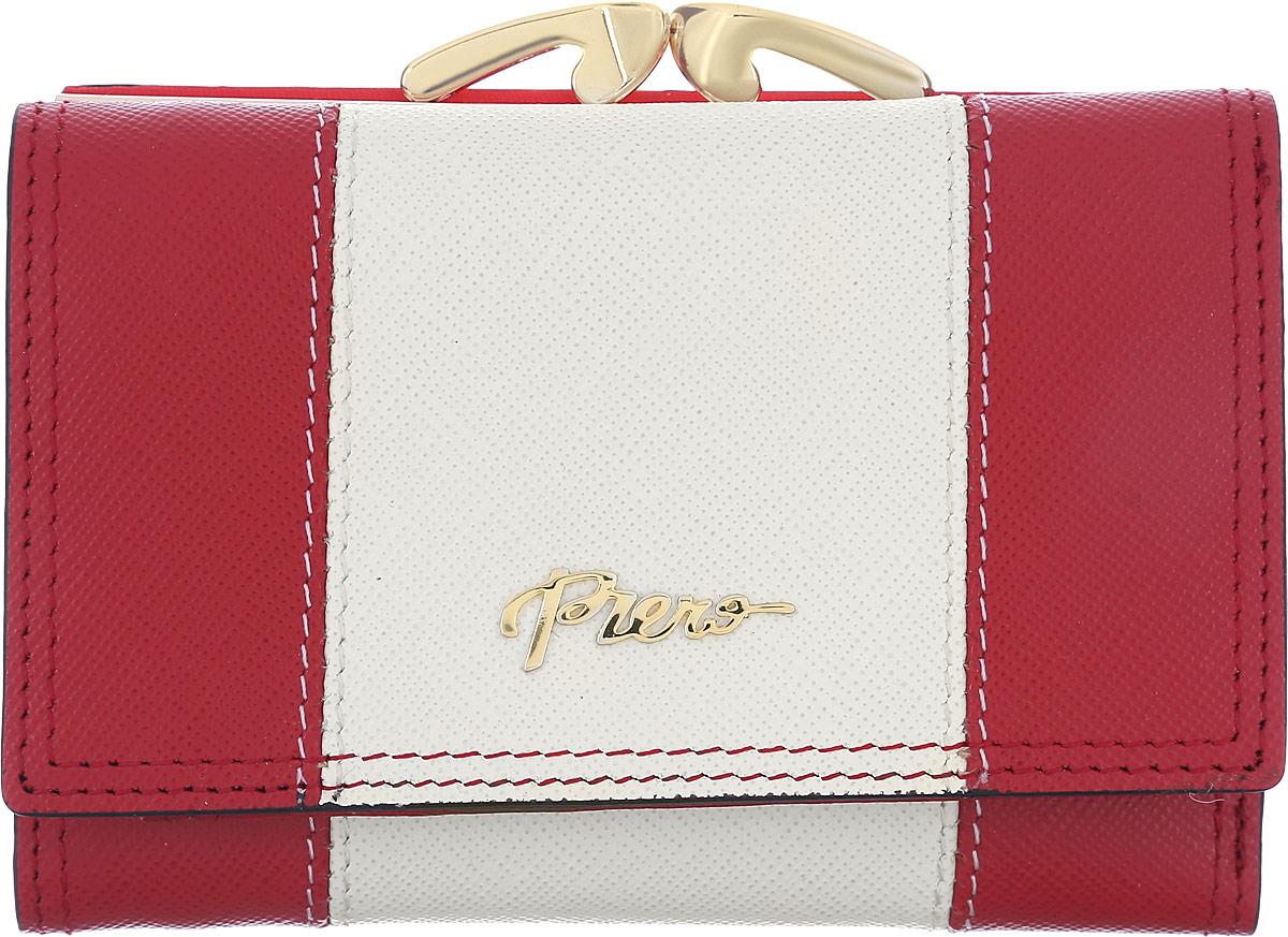Кошелек женский Piero, цвет: красный, молочный. 42М2_90038_50_1402П_2242М2_90038_50_1402П_22Небольшой стильный кошелек от Piero из коллекции Elegant изготовлен из натуральной кожи комбинированных цветов. Внутри находятся три отделения для купюр, одно из которых на молнии. Также имеются два боковых кармана и карман с прозрачным окошком, три кармана для визиток и карт. На тыльной стороне расположено специальное отделение с рамочным замком для мелочи. Кошелек закрывается клапаном на кнопку. Кошелек упакован в плотную коробку с логотипом фирмы. Такой функциональный аксессуар станет замечательным подарком человеку, ценящему качественные и практичные вещи.