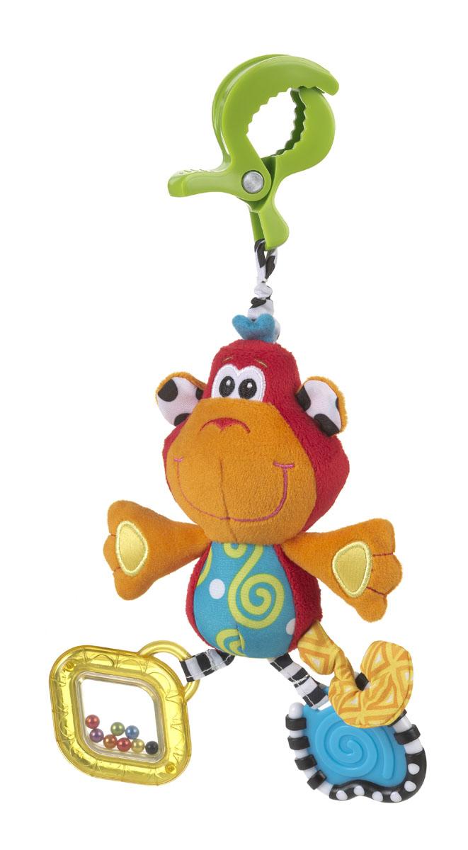 Playgro Игрушка-подвеска Обезьянка0182854Мягкая игрушка Обезьянка, обязательно понравится вашему малышу. Игрушка имеет удобное крепление, которое можно прикрепить к сидению, коляске или кроватке. Прорезыватели на игрушке снимут зуд с десен. Шуршалки стимулируют развитие нервных центров. Погремушка развивает слух и поисковый рефлекс, а бусинки в ножках развивают координацию глаз.