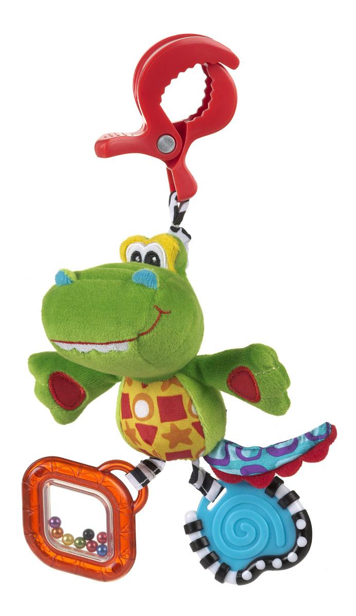 Playgro Игрушка-подвеска Крокодильчик0182855Мягкая игрушка Крокодильчик, обязательно понравится вашему малышу. Игрушка имеет удобное крепление, которое можно прикрепить к сидению, коляске или кроватке. Прорезыватели на игрушке снимут зуд с десен. Шуршалки стимулируют развитие нервных центров. Погремушка развивает слух и поисковый рефлекс, а бусинки в ножках развивают координацию глаз.