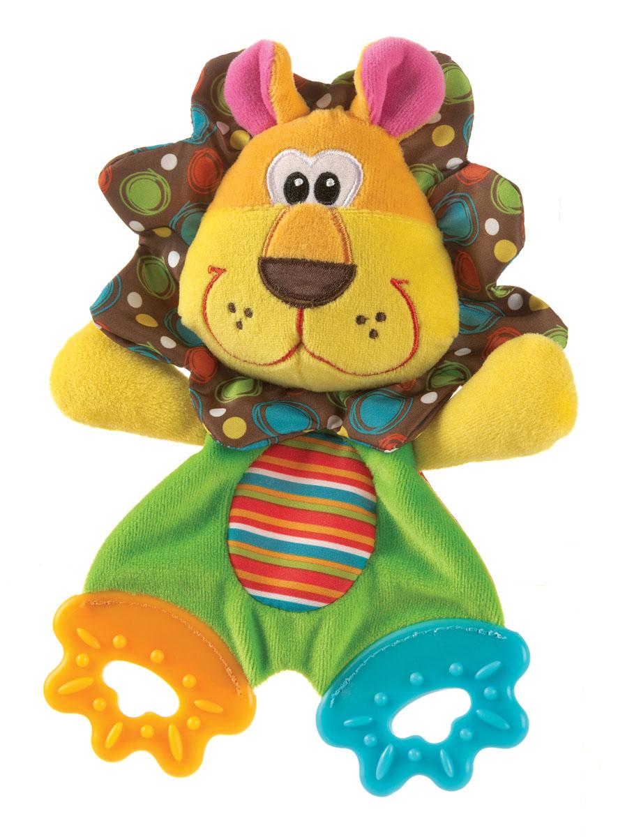 Playgro Игрушка Львенок0183152Мягкая и приятная на ощупь игрушка-салфетка из ярких тканей разной фактуры. Ножки игрушки представляют собой 2 рельефных прорезывателя, они отлично подходят период прорезывания зубов. Игрушка способствует развитию мелкой моторики, тактильных ощущений и визуального восприятия.