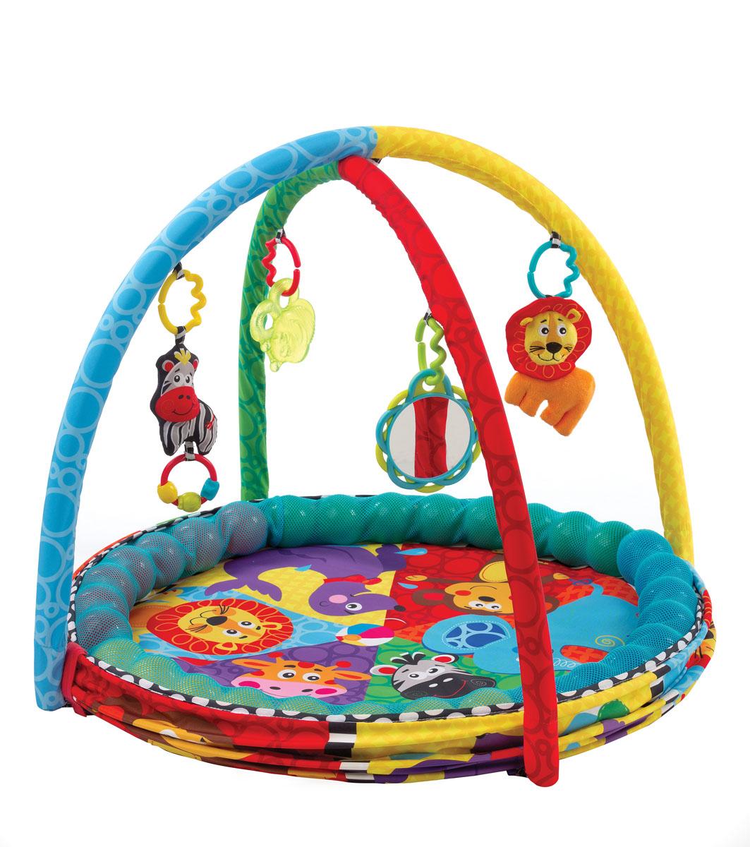Playgro Развивающий коврик Цирк0184007Яркий и привлекающий внимание развивающий коврик Цирк предназначен для малышей первого года жизни. В комлект входит: две разноцветные дуги, на которые цепляются забавные игрушки; целый набор цветных шариков, для хранения которых на коврике предусмотрен специальный кармашек, располагающийся по периметру. Диаметр коврика позволяет малышу комфортно расположится в нём, а высокие бортики препятствуют случайному выпадению. Также, для дополнительного комфорта коврик укомплектован полезными аксессуарами в виде зверушек помощников: пчёлка-прорезыватель, лев-погремушка, зеркальце и зебрушка. Параметры коврика: диаметр - 65 см, высота борта - 20 см.