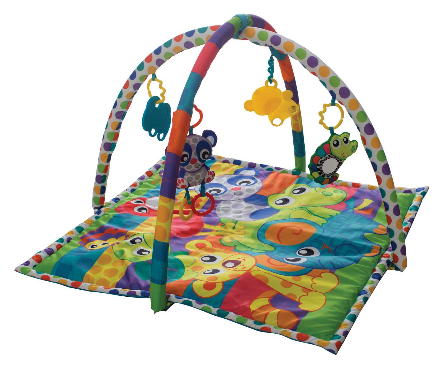 Playgro Развыивающий коврик В мире животных0185477Игровой центр с двумя дугами и 4-мя подвесками 2 пластиковые и 2 текстильные с пластиковыми вставками. Подвески легко снимаются и могут использоваться отдельно. Способствует развитию визуального восприятия, тактильных ощущений, моторики.Размеры коврика в развернутом виде: 70х63,5х56 см
