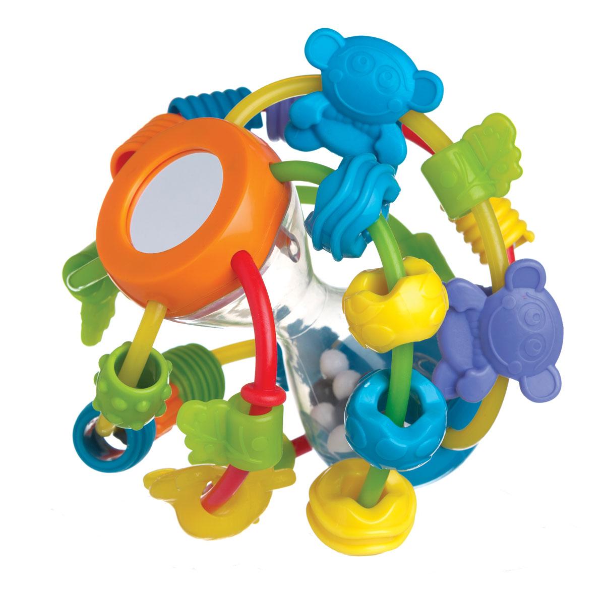 Playgro Развивающая игрушка Шар4082679Шар имеет прозрачное основание в виде песочных часов, по которому с веселым треском перекатываются черно-белые шарики. На пластиковые прутики, тянущиеся от верхней части основания к нижней, нанизано множество бусинок разных цветов и форм. Прутики изготовлены из мягкого пластика, при нажатии они прогибаются. Такую игрушку малышу легче взять в ручки, теребить, перекладывать.