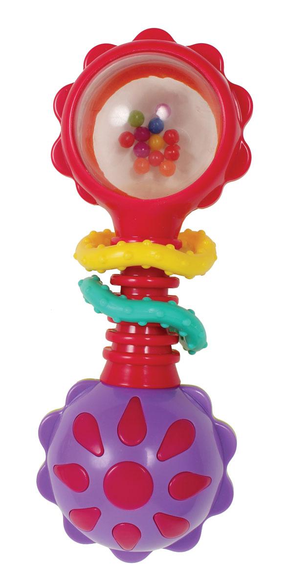 Playgro Игрушка-погремушка 41841834184183Погремушка с прорезывателем предназначена для маленьких детей, у которых режутся зубки. Яркие цвета привлекают внимание малыша. Если потрясти погремушку, то в прозрачном шарике будут перекатываться цветные бусины. Шарик, расположенный внизу, раскрашен в разные цвета, поэтому при вращении раздается забавный щелкающий звук, происходит и игра цвета.