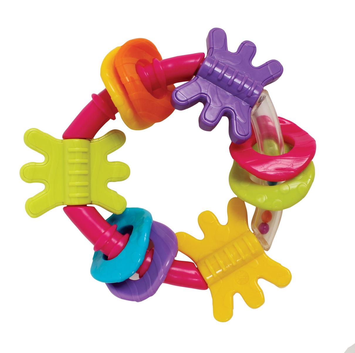 Playgro Игрушка-погремушка 41842064184206Треугольная погремушка с закругленными углами. Основание выполнено из пластика с разноцветными шариками внутри - они начинают перекатываться и греметь, как только малыш берет погремушку в руки. Также на ней расположены 9 разноцветных прорезывателей, которые можно передвигать и вращать.